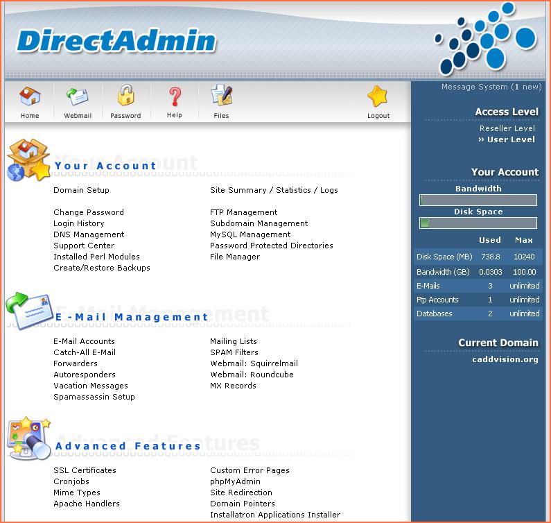 DirectAdmin website beheer scherm