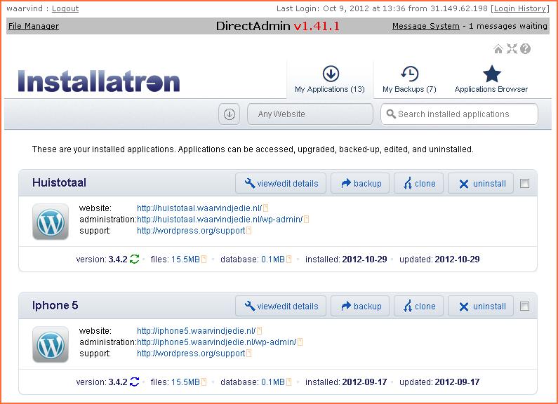 Installatron WordPress application installer