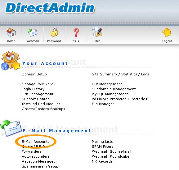 DirectAdmin mail instellen
