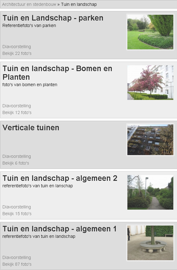 Referentiebeelden voor Tuin en Landschap