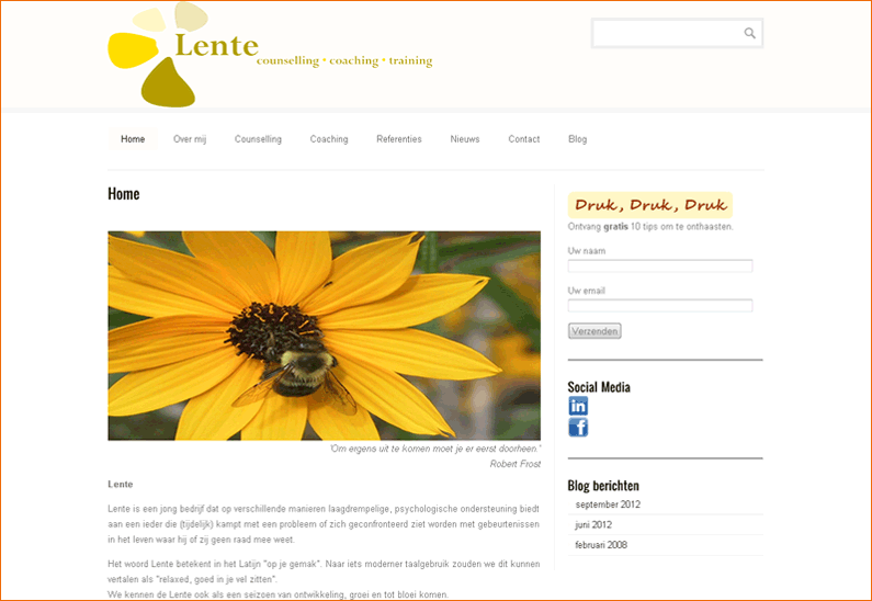 website Praktijk Lente counselling, coaching en training