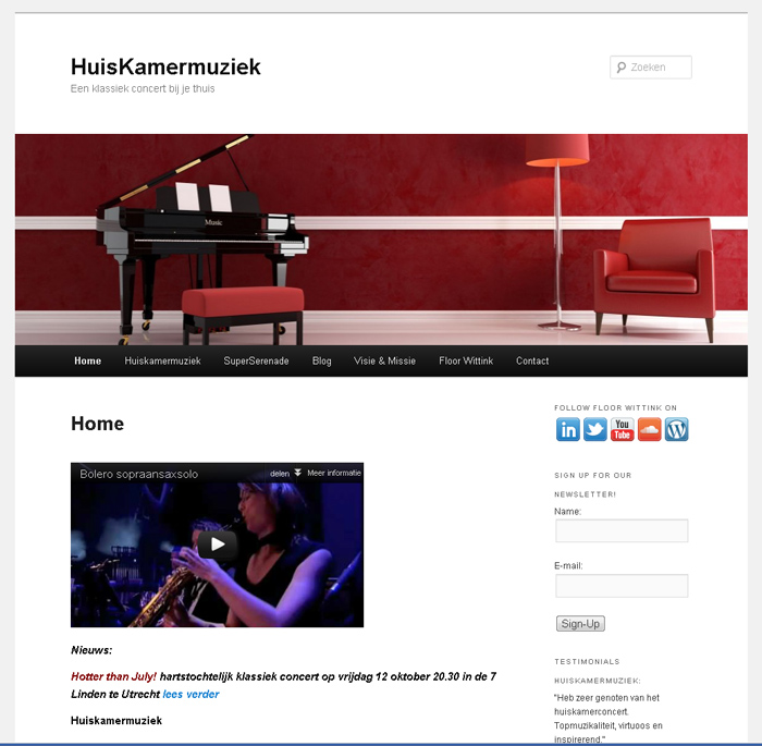 WordPress website huiskamermuziek.nl